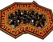 Table Runner, Extra Long Quilted Haunted Halloween Reversible To Patriotic
