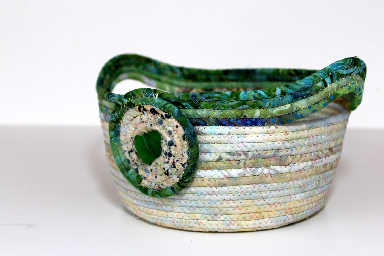 Handmade Rope Basket : Beach glass wedding basket clothesline rope bowl gift