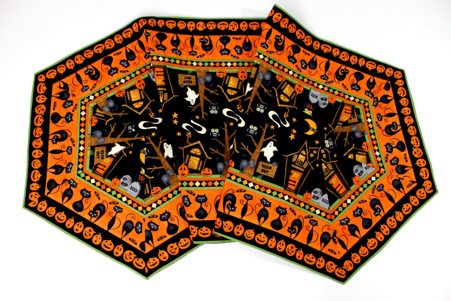 Table Runner Extra Long Quilted Haunted Halloween Reversible