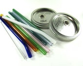 Wide Mouth Mason Jar Lid with Standard Colored Glass Straw