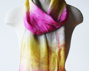 fuchsia and chartreuse  scarf, hand printed scarf, hand painted scarves, silk scarf