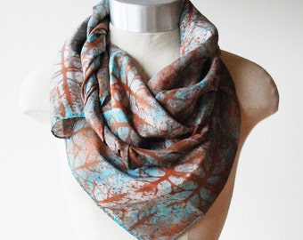 Silk scarf, screen printed scarf, hand printed scarf, rust and turquoise