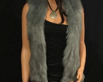 Faux Fur Vest Hip Length In Silver Gray Angora  Style: FVA501