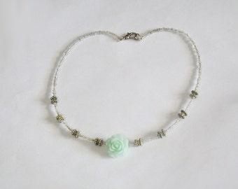 Mint Rose and Swarovski Beads Necklace