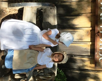 Little Girl's Pioneer Bonnet or Apron or Both 4 - 16