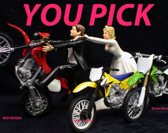 PICK Suzuki Kawasaki HONDA Dirt Bike racing, off road, track Motorcycle  Wedding Cake topper