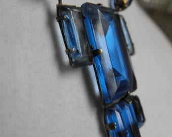 Art Deco Sapphire blue glass necklace  Edwardian Sapphire Blue necklace cobalt glass