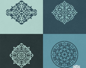 Arabesque Ornamental Craft Stencils Set - 4 Moroccan Style Wall Art Furniture Medallion Stencils for Painting