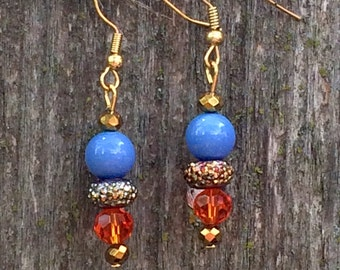 Gorgeous blue and orange hand beaded dangle earrings