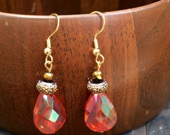 Gorgeous orange and gold czech glass dangle earrings