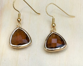 Gorgeous faceted glass coffee dangle earrings