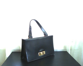 1960's Black Patent Handbag by Triangle New York, Box Style Bag With Fold-over Flap