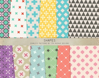 INSTANT DOWNLOAD - Shapes Seamless Patterns