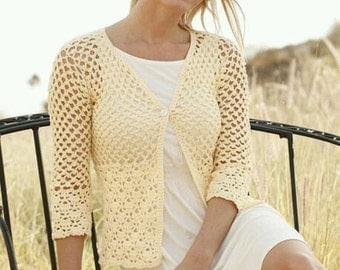 Crocheted Lace Cardigan with 3/4 Length Sleeves - MADE TO ORDER