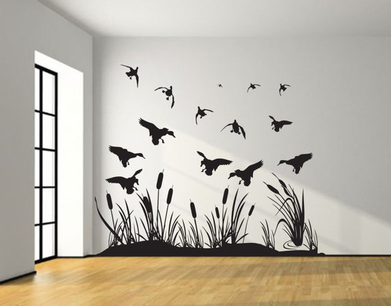 Landing mallard wetland ducks wall decal silhouettes living for Duck hunting mural