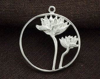 1 of  925 Sterling Silver Lotus Pendant 26mm. :tm0070