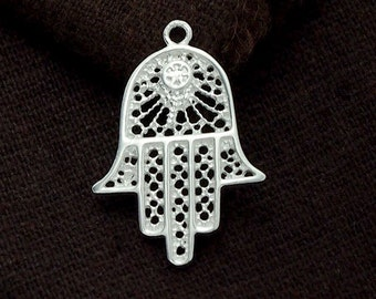 1 of  925 Sterling Silver Hand Of Fatima Pendant 18x24mm. :th2308