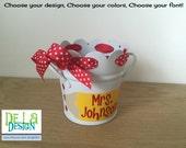 Personalized pencil cup, scalloped edge metal mini bucket, desk organizer, makeup brush holder, name or monogram, ribbon, teacher gift