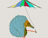 Nursery decor - kids room decor - childrens wall decor - animal prints - posters. 'Hedgehog with Umbrella'.