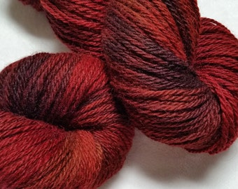 Corriedale-Silk 3 Ply- 80/20 Yarn Hand Dyed in shades of Red and Burgundy