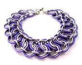 Chainmail Bracelet - Purple Garter Belt - Chainmaille Jewelry - Chainmaille Bracelet - Handcrafted Jewelry - Chain mail Bracelet