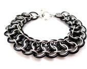Chainmail Bracelet - Black Garter Belt - Chainmaille Jewelry - Chainmaille Bracelet - Handcrafted Jewelry - Chain mail Bracelet