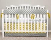 Bumperless Crib Bedding - Crib Skirt, Teething Crib Rail Cover - Reese1 - Corn Yellow, Gray, White - TS1