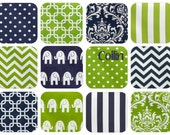 "Swatches - ""Collin"" Fabric Collection - Lime Green, Navy, White - FREE SHIPPING"
