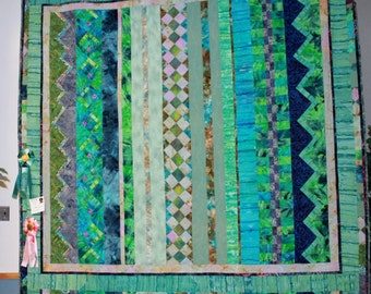 "Queen Sized, Blues, Turquoise, Greens ""Ocean Seminole"" Quilt"