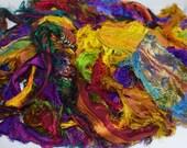 100g SALE SHINY Recycled Sari Silk Ribbon Yarn, multi,  free shipping 3.5 oz / 100 grams Fuzzy