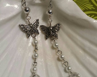 Silver butterfly, pearl and crystal drop dangle earrings. Free shipping!