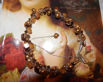 Beautiful Bronze and Gold Freshwater Pearl Necklace