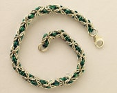 Chainmail Bracelet, Micro Byzantine Bracelet, Sterling Silver and Niobium