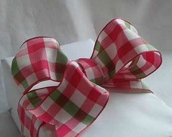 "Wire Ribbon / fuchsia pink and green ... 1.5"" X 12 Feet"