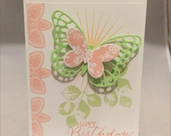 Stampin' Up Card Kit Set if 4 Layered Butterflies Birthday