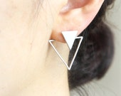 Triangles Front back Earrings / ear jackets, Choose your color / gold and silver