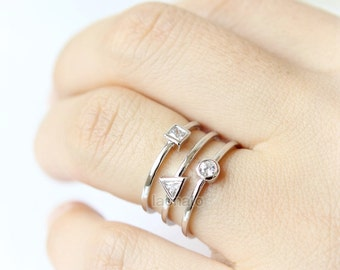 Geometric Stacking Ring - triangle, circle, square, gold, silver