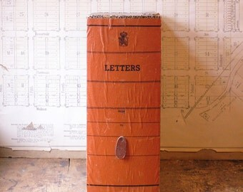 Vintage Orange Letter File Box with Leather Pull - Great Retro Office Decor!