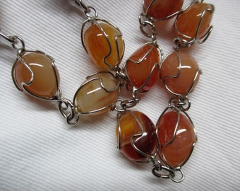 70's Vintage Natural Carnelian Caged necklace crystal