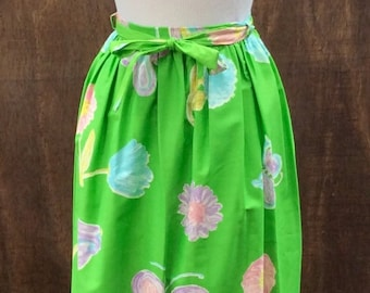 1970s Maxi WRAP Skirt with Flowers and Butterflies // XS