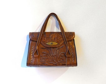 Vintage collectable mexican brown tooled leather boho handbag, carved boho leather purse