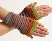 Merino Wool Wrist Warmer Fingerless Gloves, Gray, Orange and Chartreuse