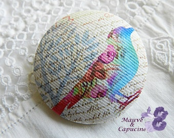 Fabric button, printed bird, 22 mm / 0.86 in