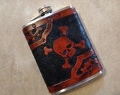 Airship Pirate Label Steampunk Leather 8oz Hip Flask - Made to Order