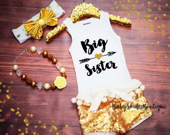 Big Sister Shirt Little Sister Tank Top Sibling Shirts Girl Shirts Baby Announcement Shirt Pregnancy Announcement Gold Glitter Shirt 186