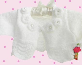 Baby knitted bolero, baby bolero, white children bolero,christening bolero, knitted baby sweater,  READY TO SHIP
