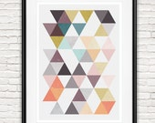 Abstract print, Gray and pink, Geoemtric abstract, living room art, scandinavian design, triangle print, abstract home art, wall print,