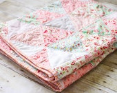 Modern Patchwork Pink Shabby Chic Triangle Handmade Quilt, 42 inches x 62 inches