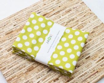 Large Cloth Napkins - Set of 4 - (N3141) - Green Chartreuse Dots Modern Reusable Fabric Napkins