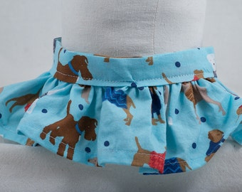 blue dog print neck ruffle for pets